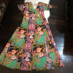 asos scarf print maxi dress multi colored size 14